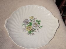 ELEGANT VINTAGE TAB HANDLE DEEP CAKE PLATE SUTHERLAND GREY WITH FLORAL CENTRE